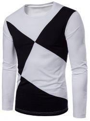 Cross Contrast Patch Design Long Sleeve T-shirt -