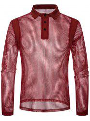 Solid Color Patchwork Detail Vertical Striped Mesh Polo Shirt -