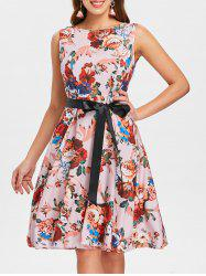 Print Belted Vintage Dress -