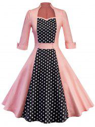 Polka Dot Insert Retro Swing Dress -