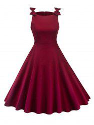 Bowknot Insert Sleeveless Vintage Dress -