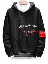 Embroidery Letter Graphic Drawstring Hoodie -