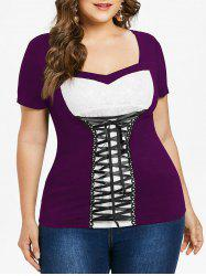 Lace Up Plus Size Sweetheart Neck T-shirt -