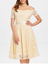 Off Shoulder Lace Evening Dress -