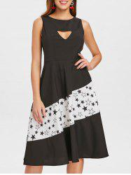 Stars Print Cut Out Vintage Dress -