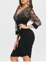 Plunge Glitter Ruched Party Dress -