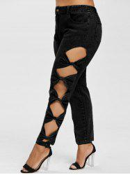 Plus Size Bow Cut Sides Jeans -
