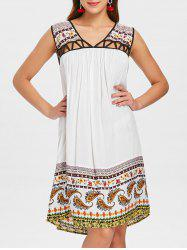 V Neck Cut Out Tribal Print Straight Dress -