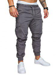 Side Pockets Elastic Cuffed Casual Jogger Pants -
