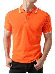 Polo T-shirt Rayure Coupée en Blocs de Couleurs -