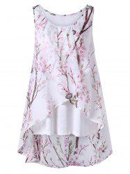 Plus Size Overlap Tiny Floral Sleeveless Top -