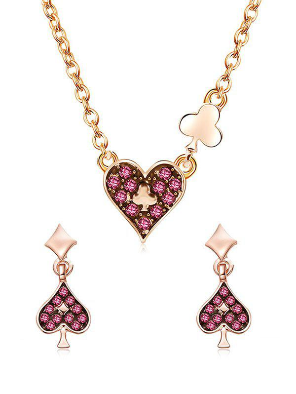 Shop Love Heart Shaped Pendant Chain Necklace with Earrings