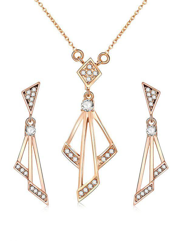 Rhinestone Geometric Shape Chain Necklace с серьгами