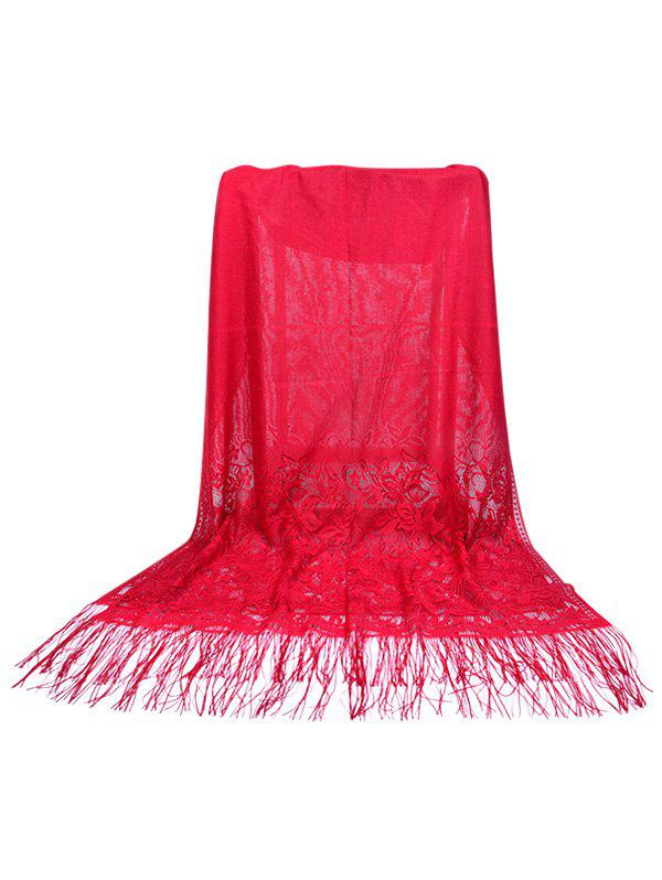 Discount Vintage Floral Lace Fringed Silky Scarf