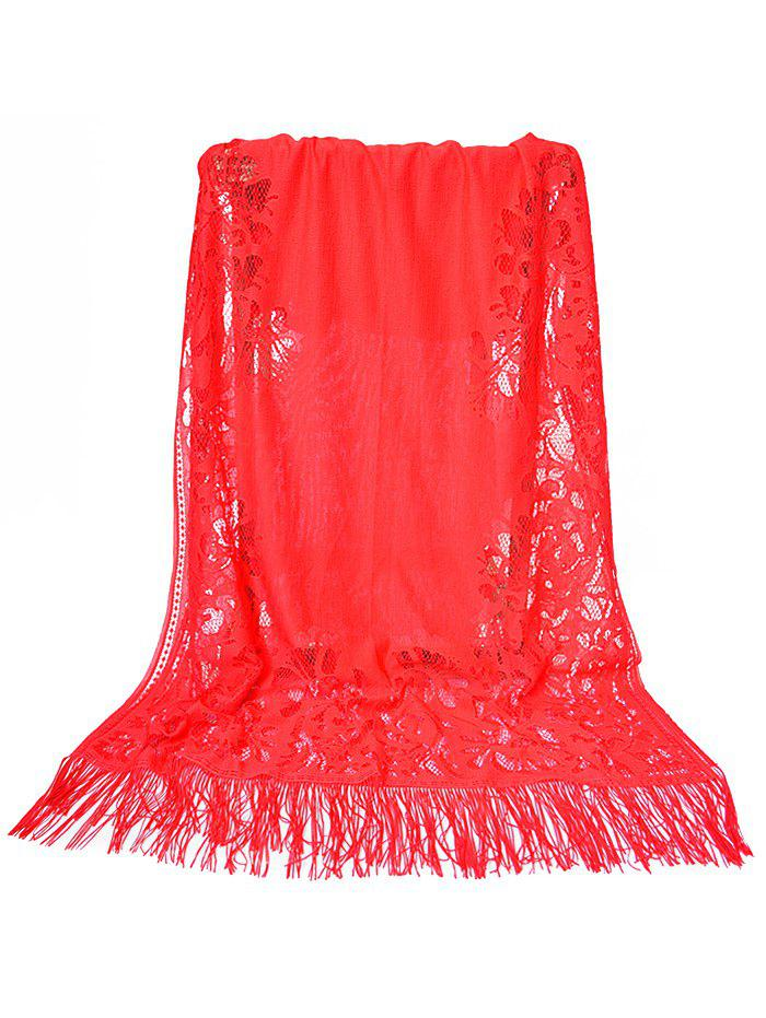 Online Vintage Hollow Out Lace Floral Silky Scarf