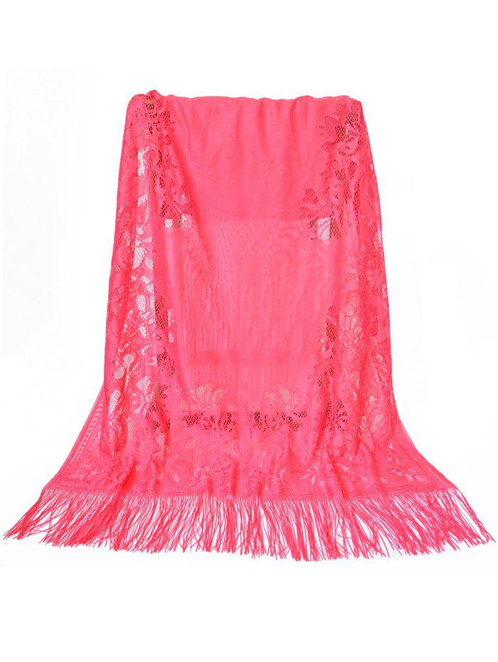 Trendy Vintage Hollow Out Lace Floral Silky Scarf