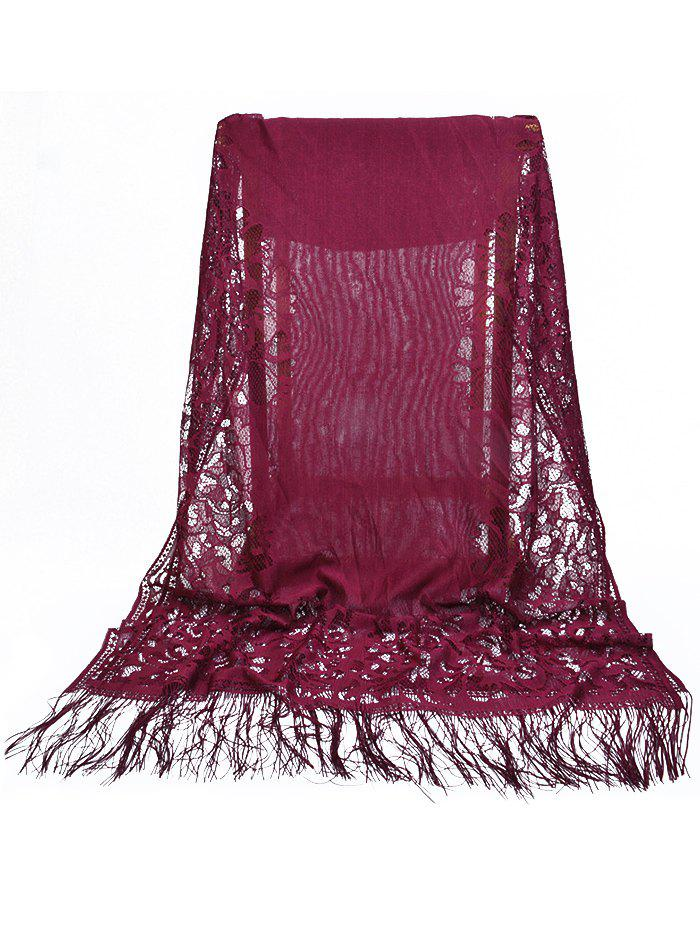 Cheap Vintage Hollow Out Lace Floral Silky Scarf