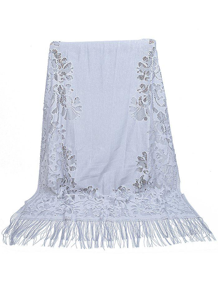 Latest Vintage Hollow Out Lace Floral Silky Scarf