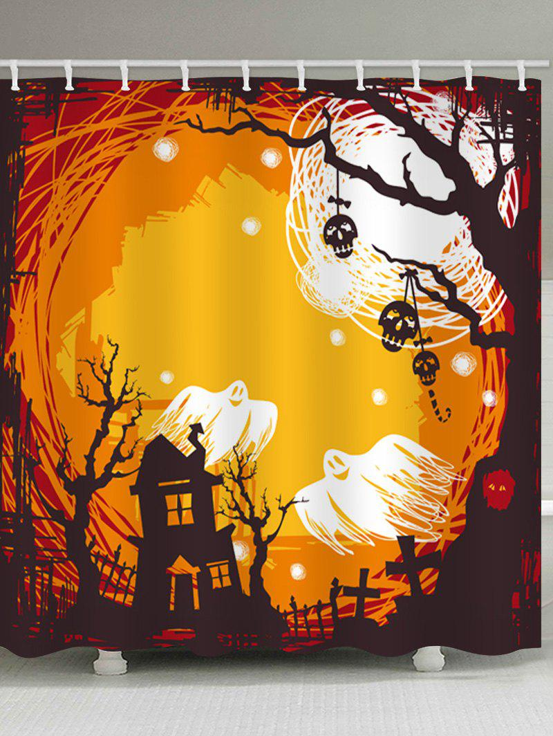 Fashion Halloween Castle Night Print Waterproof Bathroom Shower Curtain