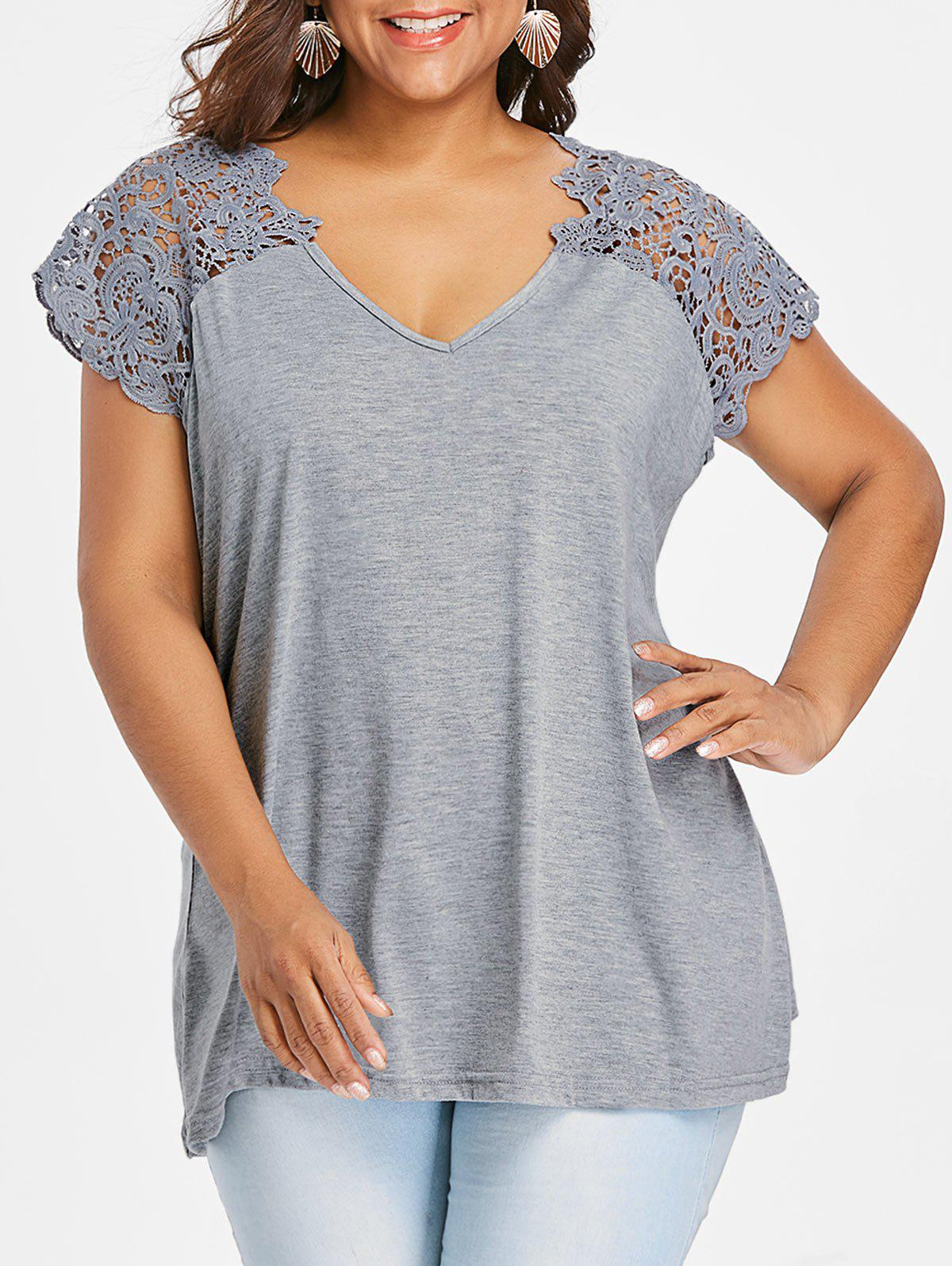 Chic V Neck Plus Size Lace Trim Cutwork T-Shirt
