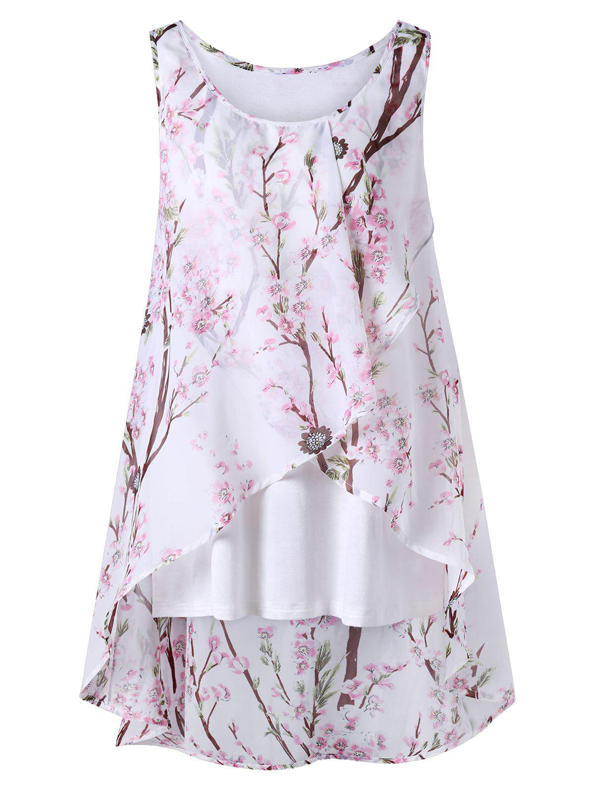 Sale Plus Size Overlap Tiny Floral Sleeveless Top