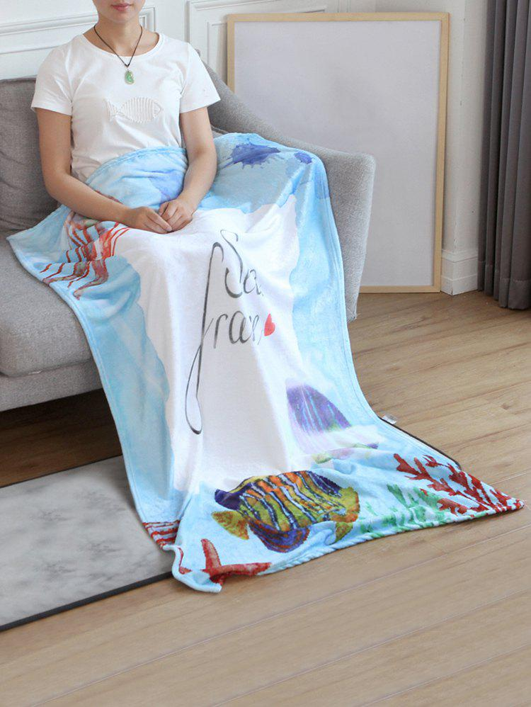 Buy Jellyfish Fish Print Flannel Soft Bed Blanket