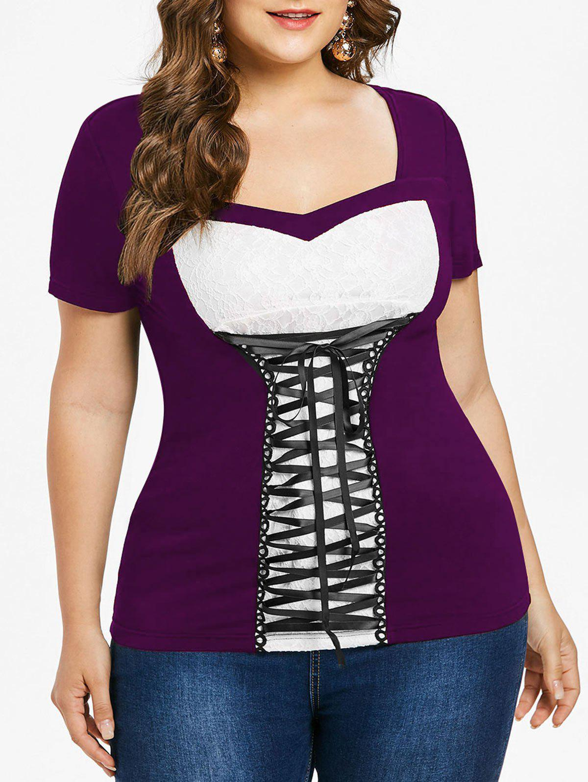 Outfits Lace Up Plus Size Sweetheart Neck T-shirt