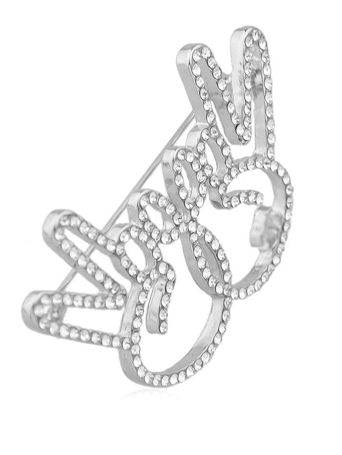 Broche Signe V Design en Strass