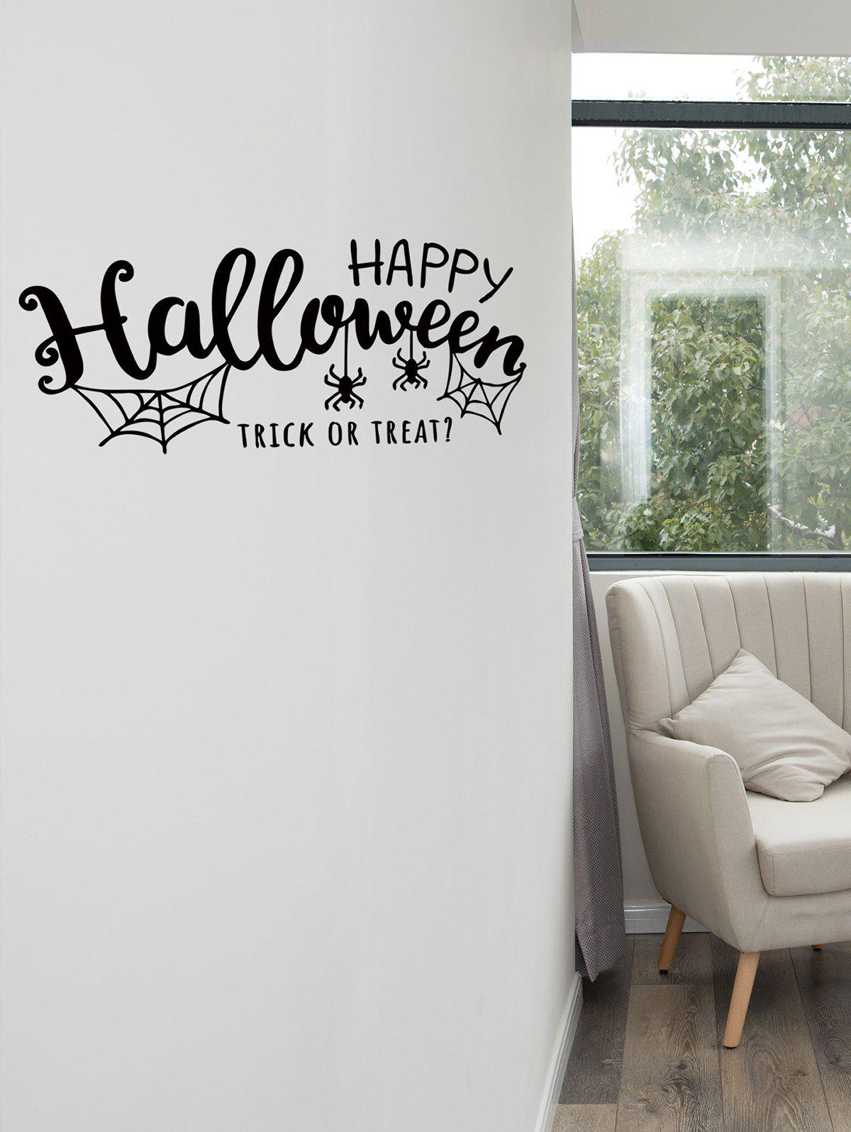 Latest Happy Halloween Spider Print Wall Sticker for Bedroom