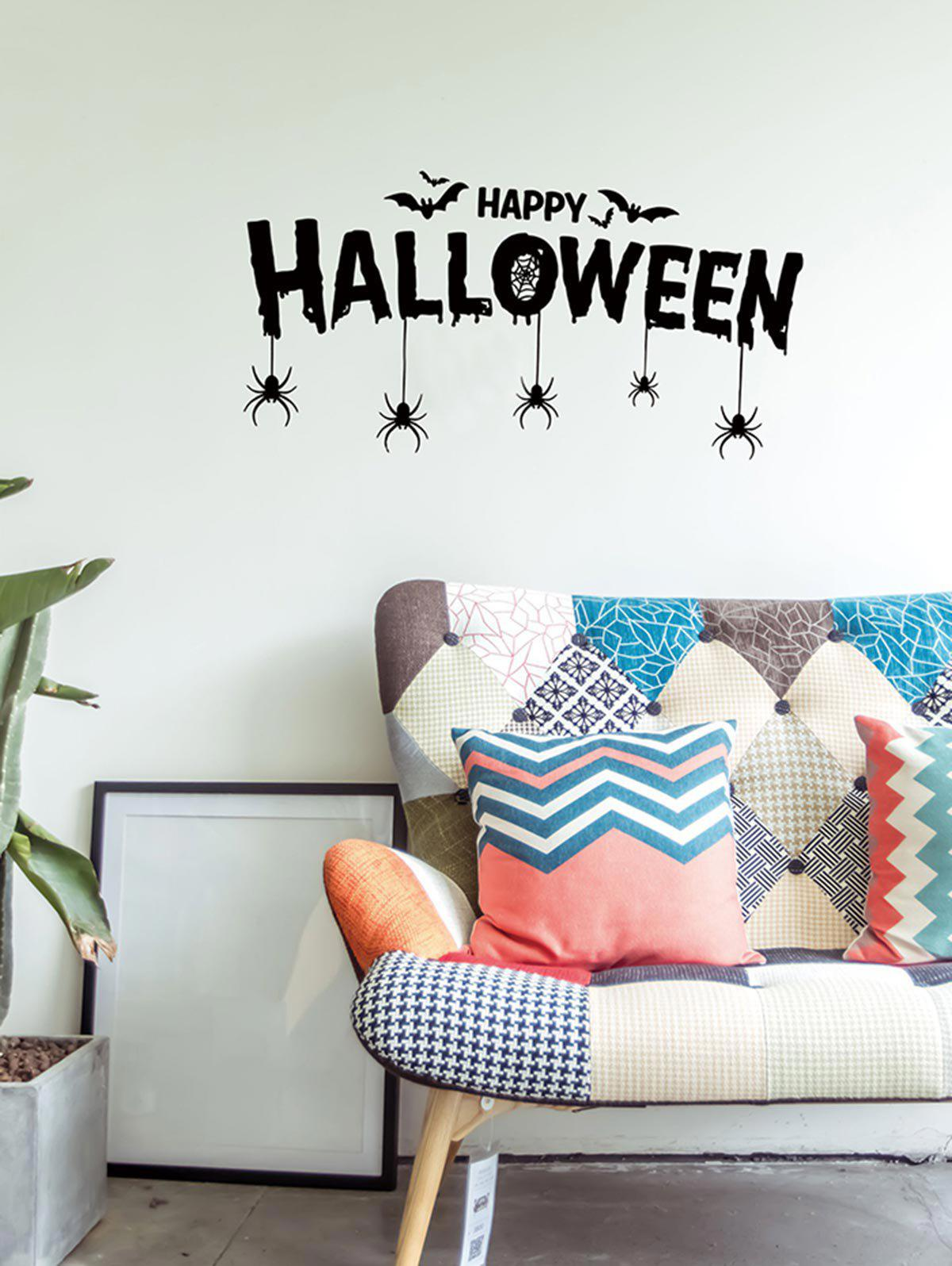 Affordable Halloween Bat Spider Print Wall Sticker for Bedroom