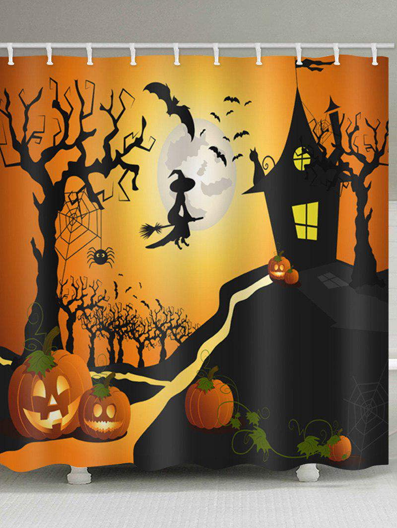 Online Halloween Night Castle Print Waterproof Bathroom Shower Curtain