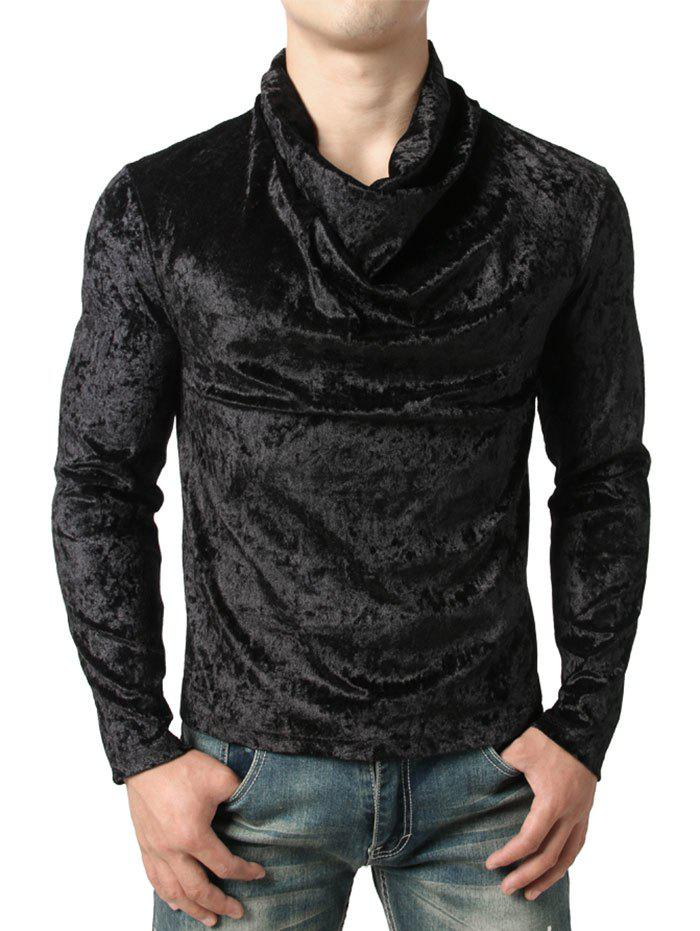 Fancy Shiny Cowl Neck Velvet T-shirt