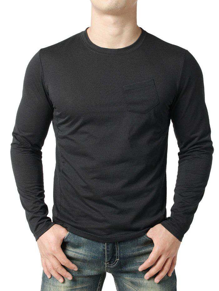 Affordable Chest Pocket Seam Detail Design Casual T-shirt