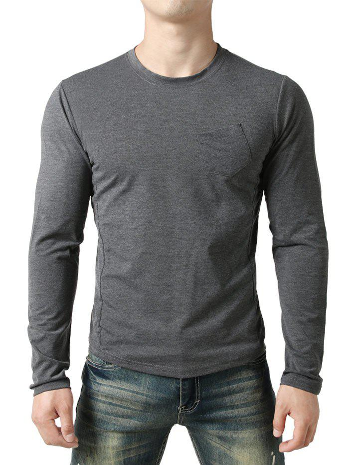 Buy Chest Pocket Seam Detail Design Casual T-shirt