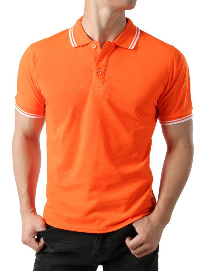 Polo T-shirt Rayure Coupée en Blocs de Couleurs