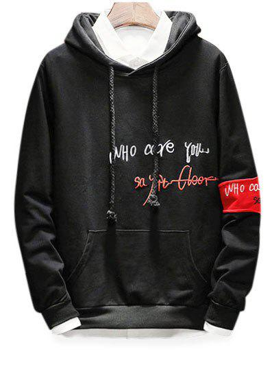 Outfits Embroidery Letter Graphic Drawstring Hoodie