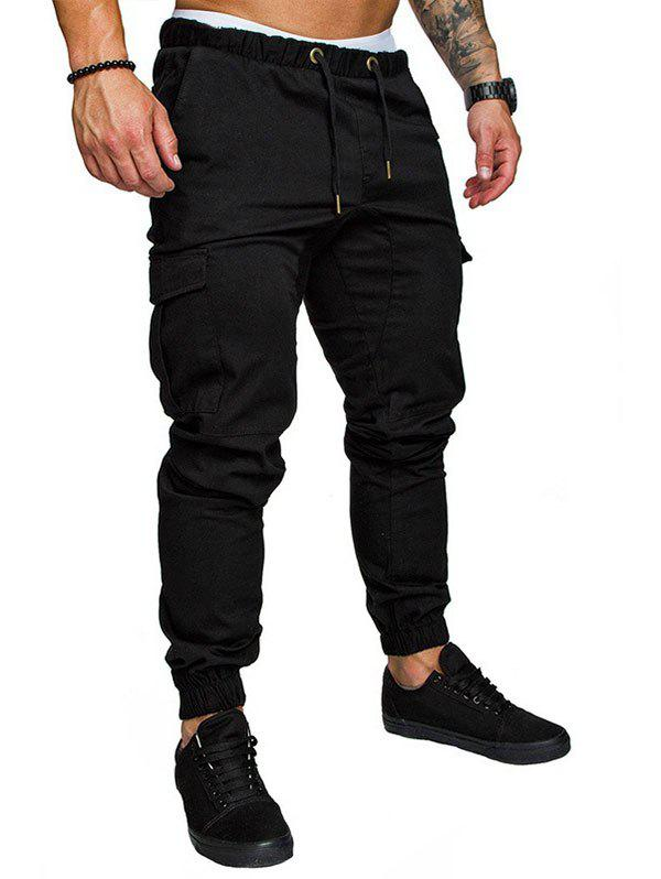 Unique Side Pockets Elastic Cuffed Casual Jogger Pants