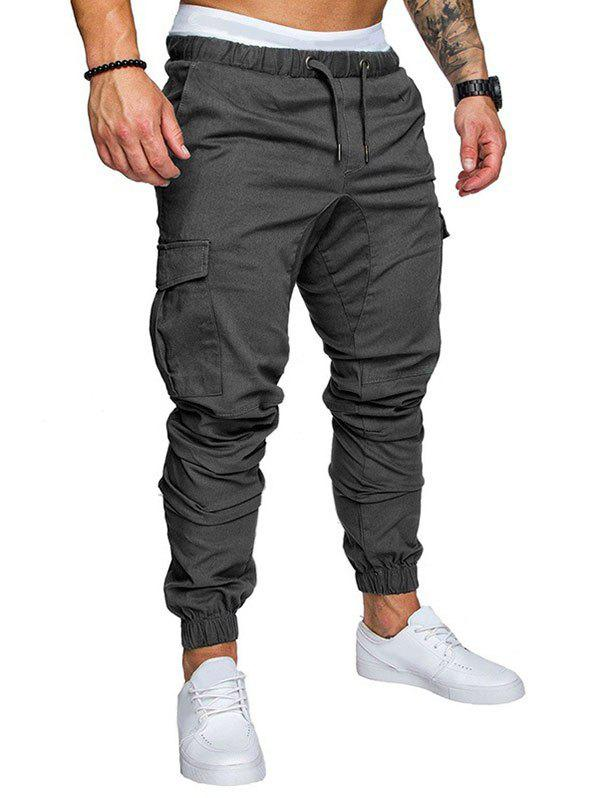 Chic Side Pockets Elastic Cuffed Casual Jogger Pants