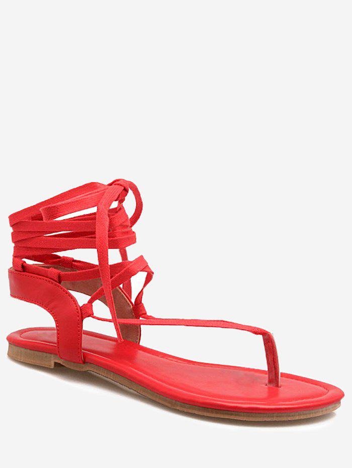 New Plus Size Chic Lace Up Crisscross Beach Thong Sandals
