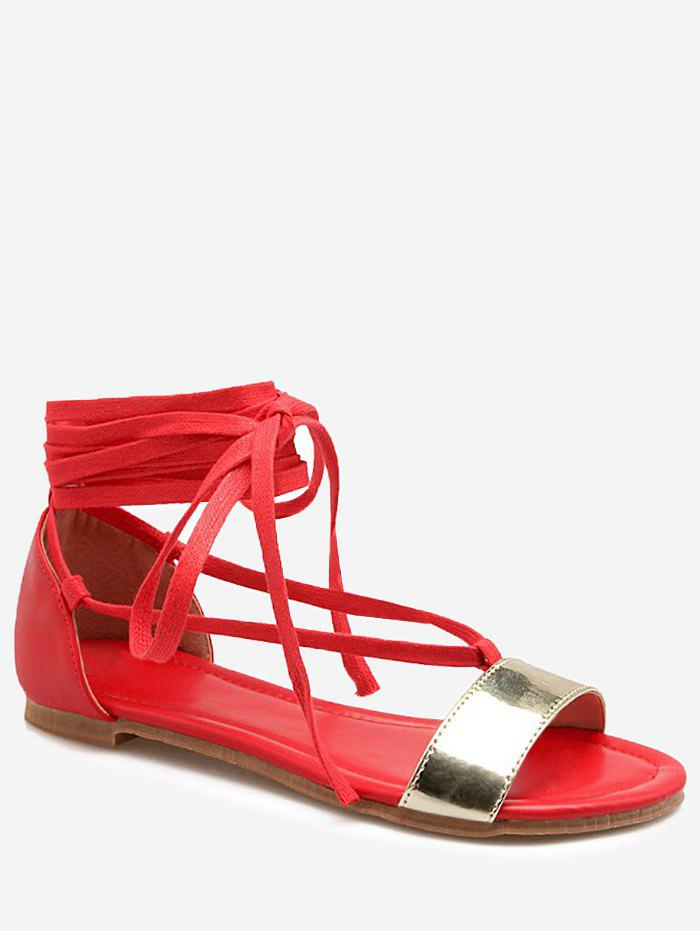 Outfit Plus Size Flat Heel Metallic Lace Up Sandals