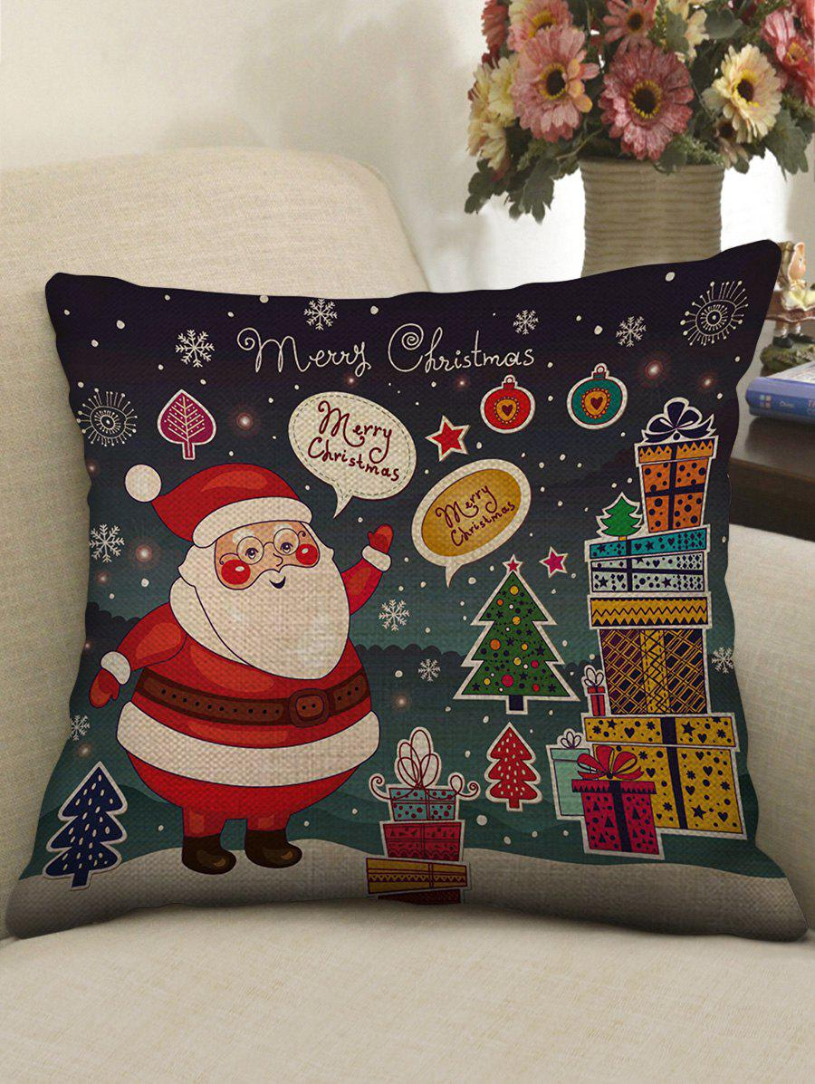 Outfits Christmas Santa Claus Print Decorative Linen Sofa Pillowcase
