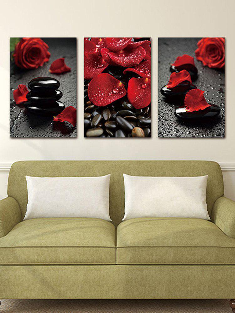 Trendy Rose and Stones Print Unframed Split Canvas Paintings
