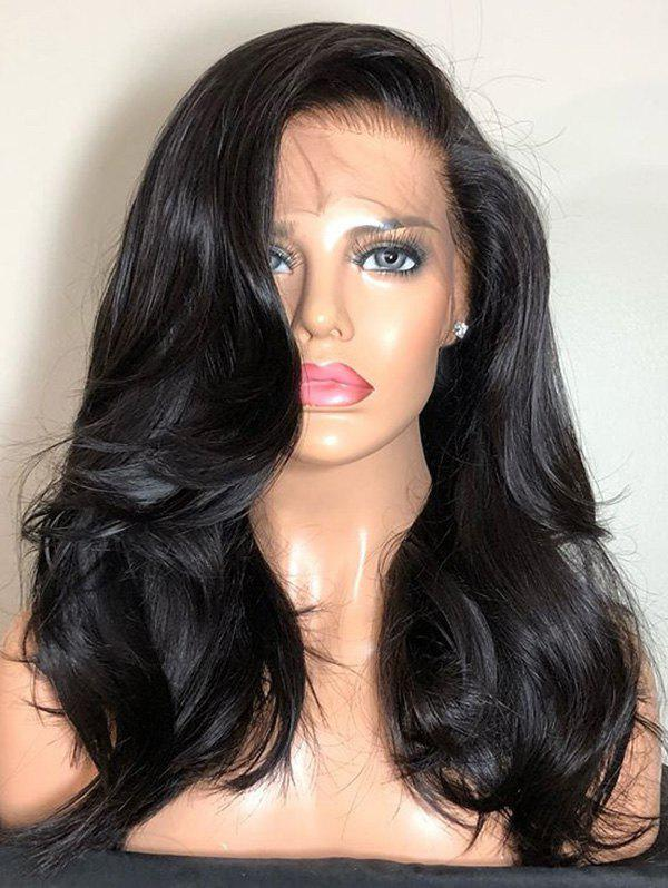 Best Long Side Bang Wavy Human Hair Lace Front Wig