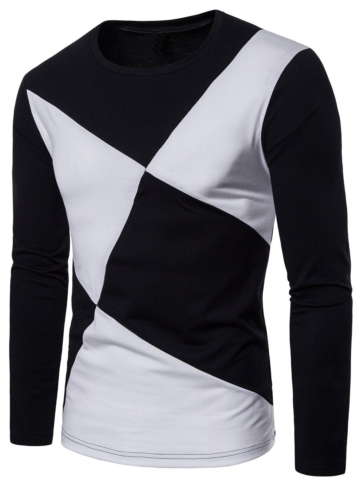 Discount Cross Contrast Patch Design Long Sleeve T-shirt