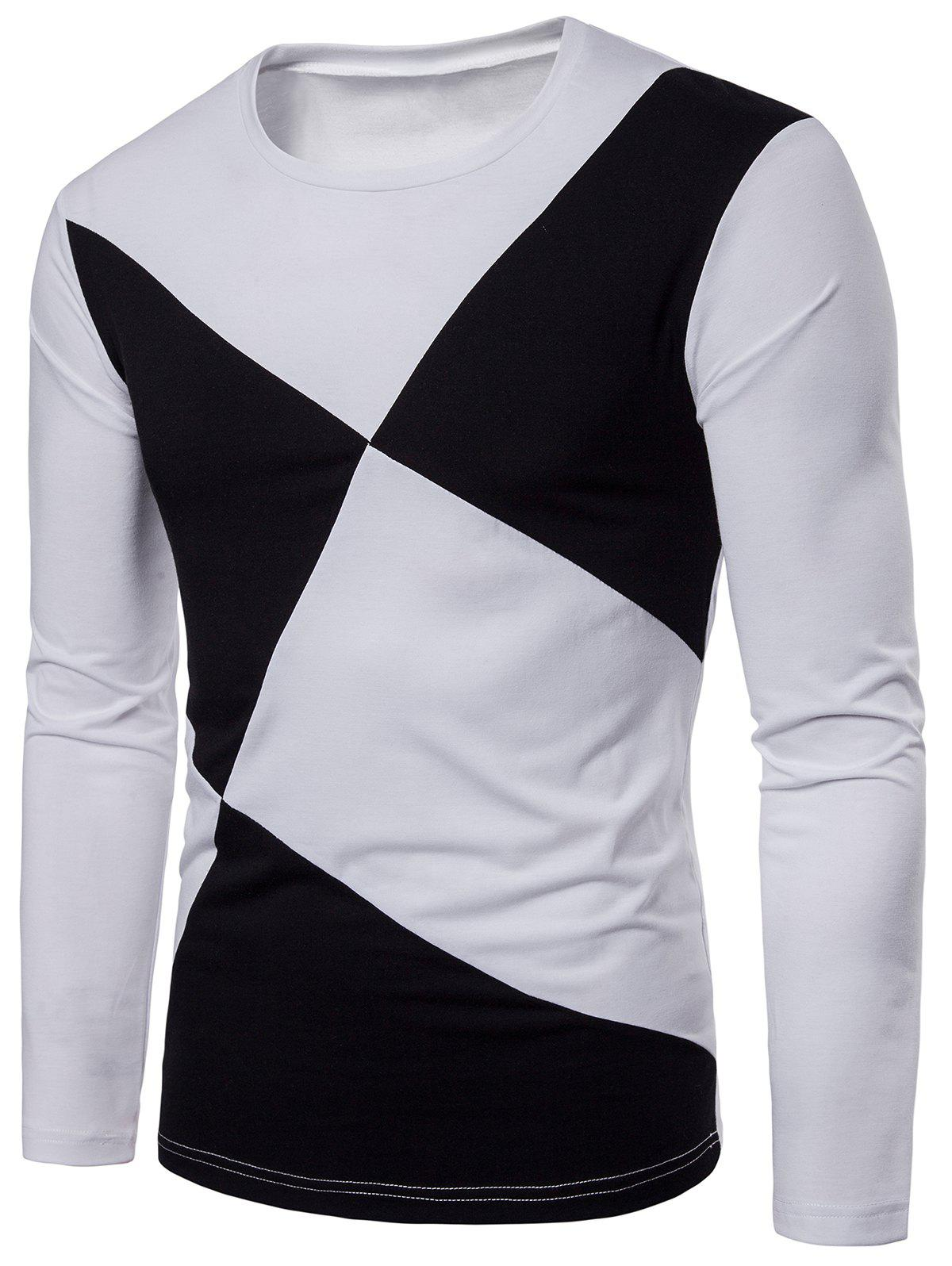 Online Cross Contrast Patch Design Long Sleeve T-shirt
