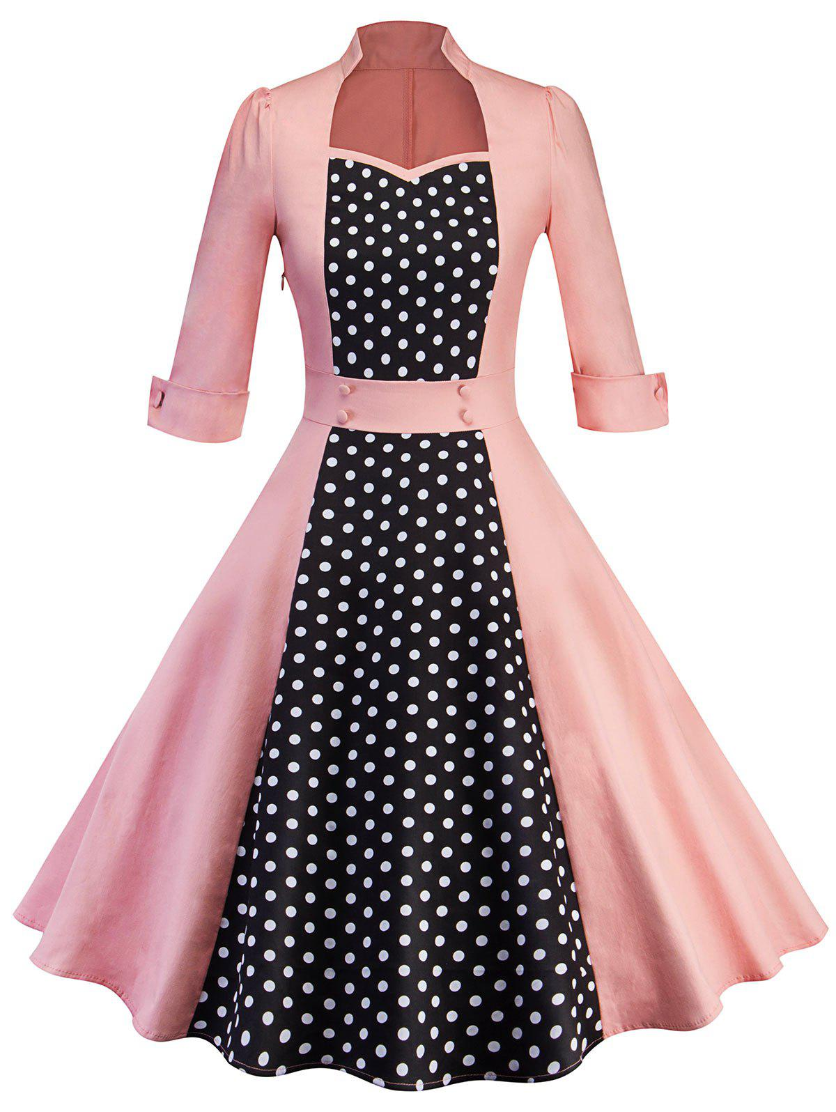 Cheap Polka Dot Insert Retro Swing Dress