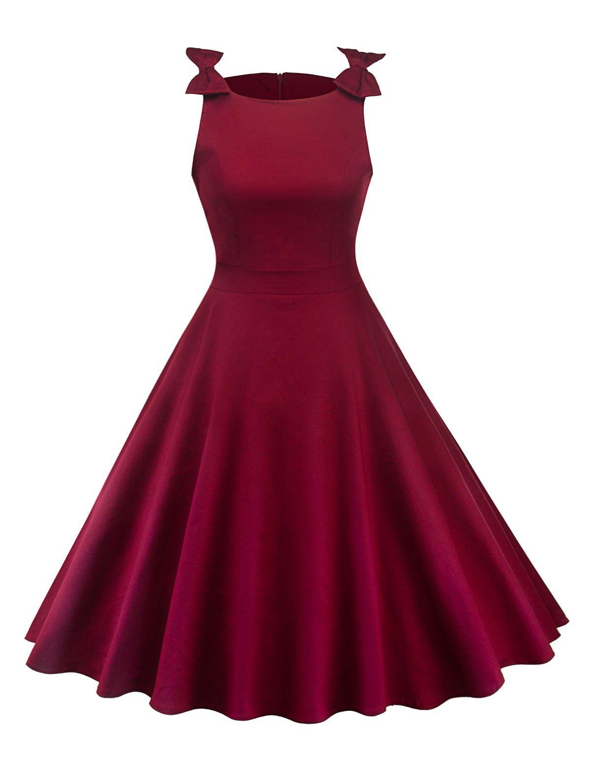 Sale Bowknot Insert Sleeveless Vintage Dress