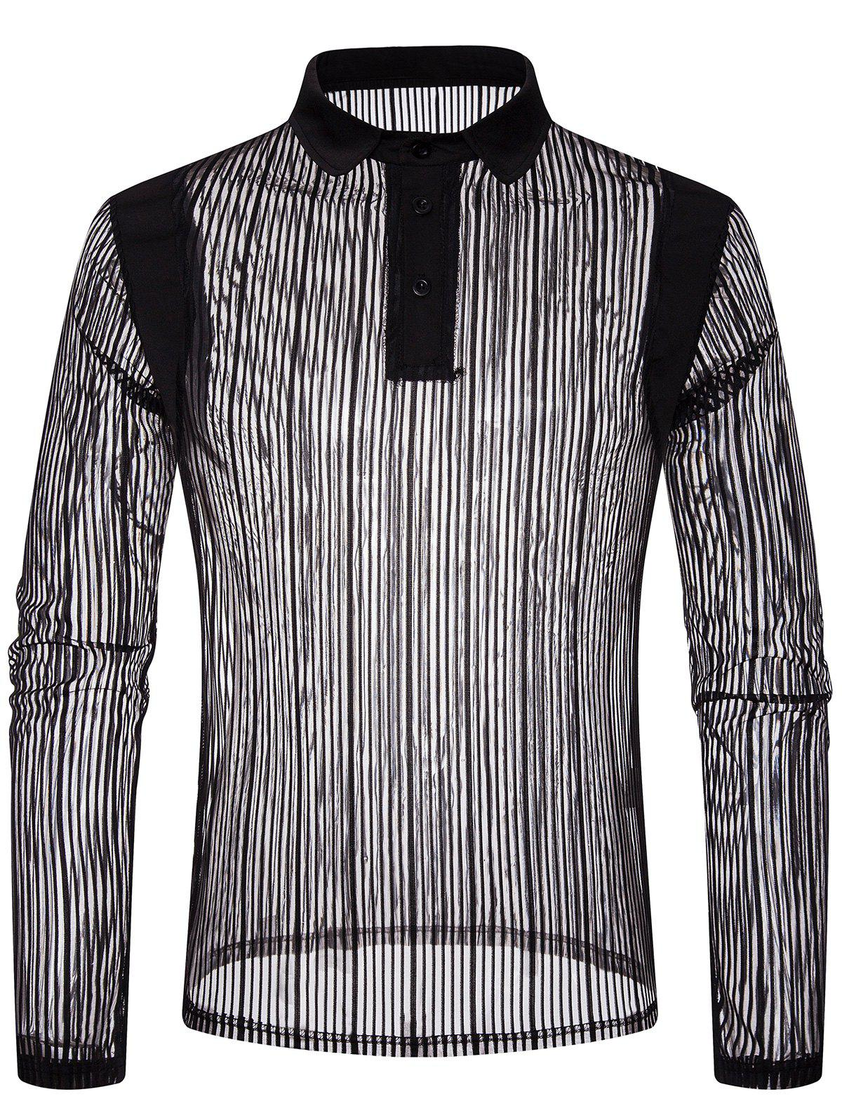 Fashion Solid Color Patchwork Detail Vertical Striped Mesh Polo Shirt