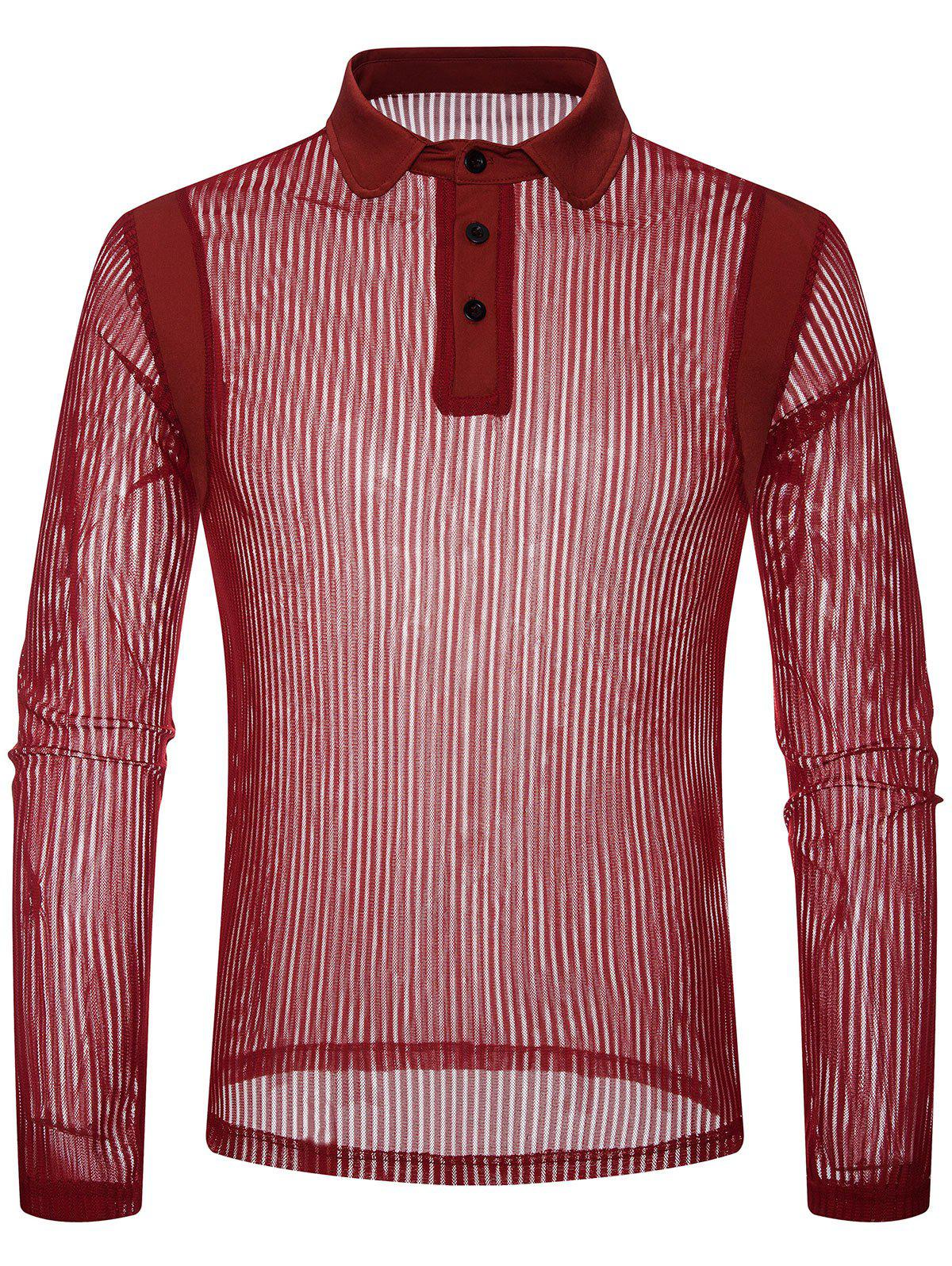 Outfit Solid Color Patchwork Detail Vertical Striped Mesh Polo Shirt