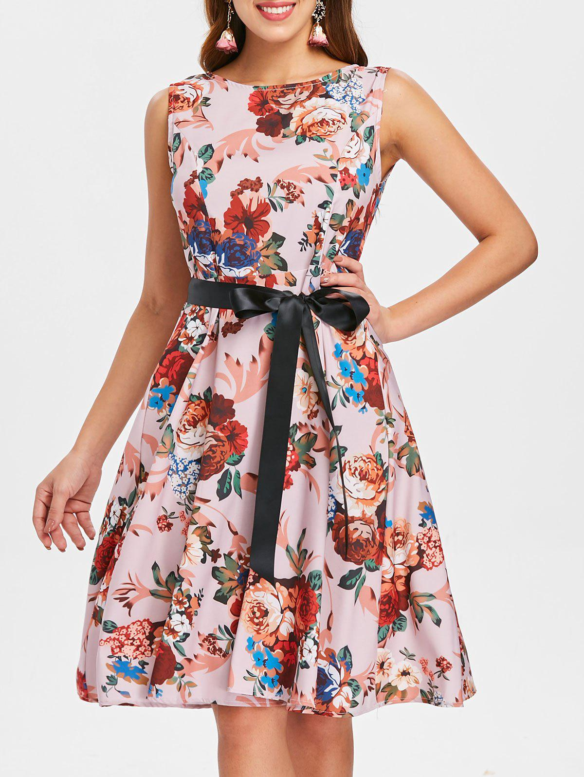 Trendy Print Belted Vintage Dress